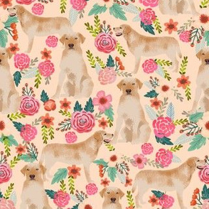 labrador florals light peach cute girly florals labrador fabric yellow labrador yellow lab labrador retriever fabric for lab owners
