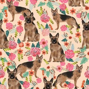 german shepherd florals cute peach vintage painted flowers cute dog dogs pet german shepherd fabric