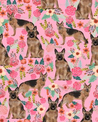 german shepherd florals pink vintage flowers dog cute dog breed fabric girls german shepherd design