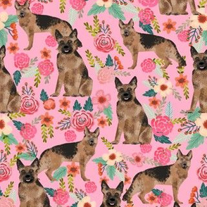 german shepherd florals pink vintage flowers dog cute dog breed fabric girls german shepherd design