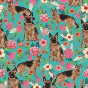 German Shepherd turquoise teal florals flowers cute girls floral vintage painted flowers dog breed fabric german shepherd fabric for dog lovers