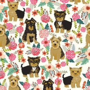 yorkie yorkshire terrier florals off-white cream fabric cute flowers vintage painted floral dog dogs dog breed fabric for yorkie lovers yorkshire terrier dog fabric