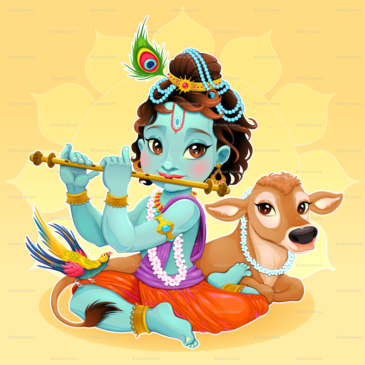 Baby Krishna With Sacred Cow Wallpaper Ddraw Illustrations