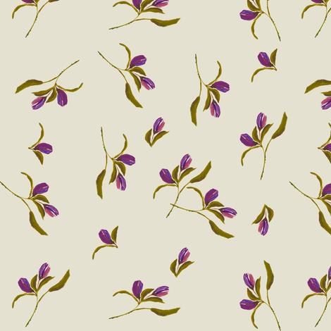 September  Dreams  Ivory & Purple fabric by shopcabin on Spoonflower - custom fabric