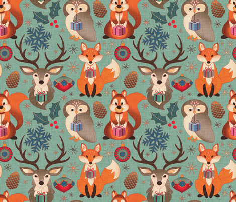 Vintage Xmas Ornaments & Animals fabric by cassiopee on Spoonflower - custom fabric