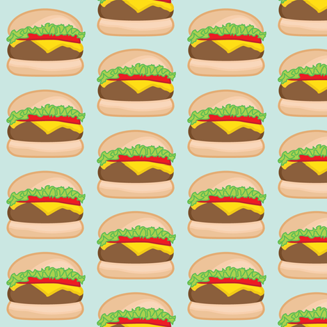 cheeseburgers-on-blue fabric by lilcubby on Spoonflower - custom fabric