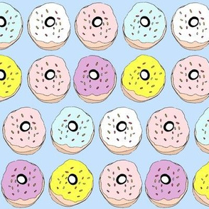 Donuts on soft blue