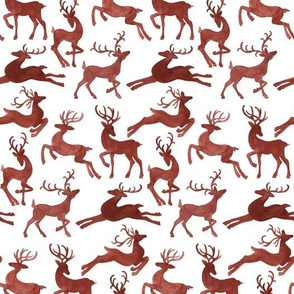 Red Reindeer on White