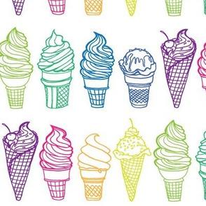 Rainbow of Ice Cream Cones (larger print variation)