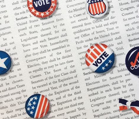 Vote!* || u.s. usa america United States voting Election Day president congress senate peace star buttons pinback pin red white blue patriotic text constitution heart patriotism rights typography