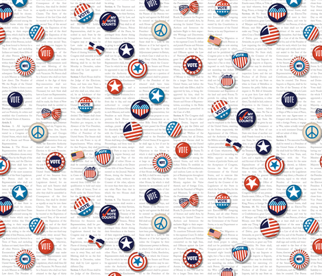 Vote!* || u.s. usa america United States voting Election Day president congress senate peace star buttons pinback pin red white blue patriotic text constitution heart patriotism rights typography fabric by pennycandy on Spoonflower - custom fabric