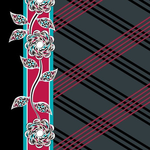 Flowers Checkered Lines Aqua Red Black