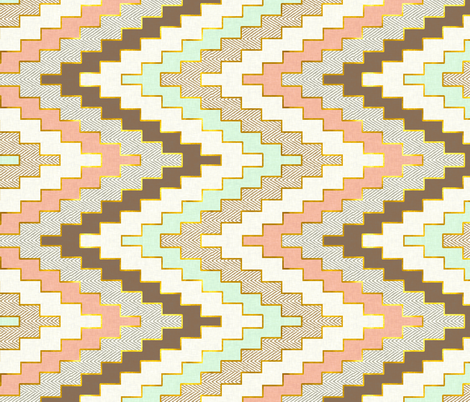 Railroaded Luxe Chevron // Mint Coral Gold Dust fabric by willowlanetextiles on Spoonflower - custom fabric