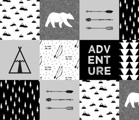 "adventure wholecloth quilt top (6"" squares) V2 fabric by littlearrowdesign on Spoonflower - custom fabric"