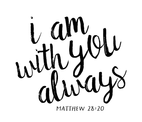 I Am With You Always Monochrome Typography Blanket Fabric