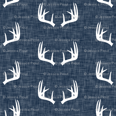 antlers on navy linen (small scale)