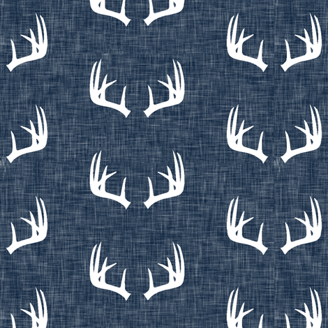 antlers on navy linen (small scale) fabric by littlearrowdesign on Spoonflower - custom fabric