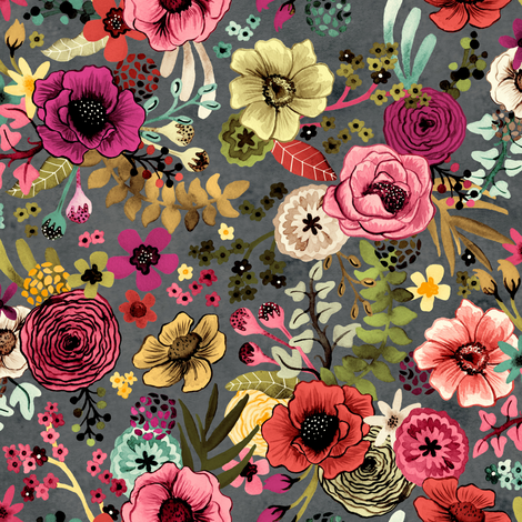 Dramatic Hand Painted Floral by Angel Gerardo fabric by angelger28 on Spoonflower - custom fabric