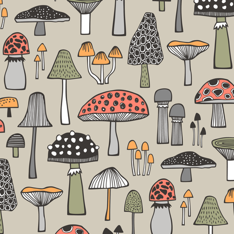 Mushrooms Fall Woodland Forest Doodle on Creme fabric by caja_design on Spoonflower - custom fabric