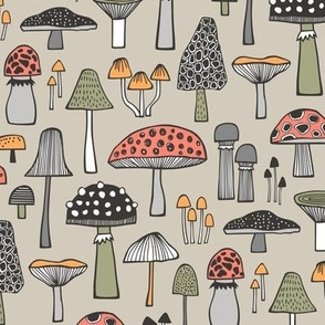 Mushrooms Fall Woodland Forest Doodle on Creme