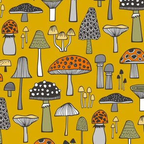 Mushrooms Fall Woodland Forest Doodle on Yellow