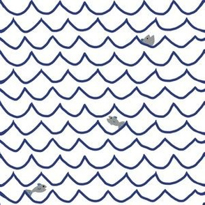 Wave Lines with Fish - White