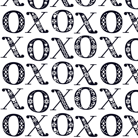 Fairytale Folk XO Hugs and Kisses - Black and White fabric by ceciliamok on Spoonflower - custom fabric