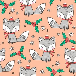 Winter Christmas Xmas Holidays Fox With snowflakes , hats  beanies,scarf  on Peach
