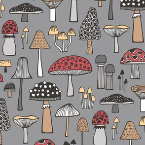 Mushrooms Fall Woodland Forest Doodle Red on Dark Grey