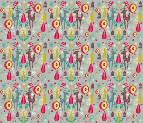 Reindeer Retro fabric by slumbermonkey on Spoonflower - custom fabric