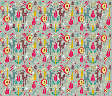 Reindeer Retro fabric by slumbermonkey on Spoonflower - custom fabric