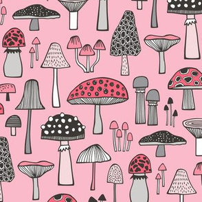 Mushrooms Fall Woodland Forest Doodle in Pink