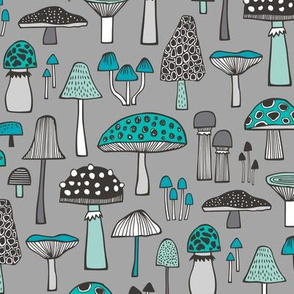 Mushrooms Fall Woodland Forest Doodle Black & White Blue Mint on Grey