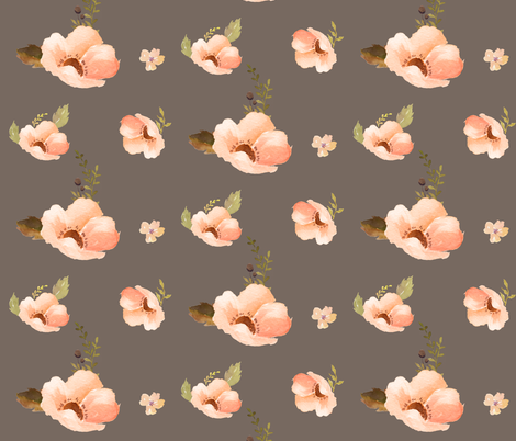 Floral Warmth in Brown fabric by shopcabin on Spoonflower - custom fabric