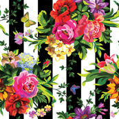 "18"" Floral Pop Stripes - Large Print Sideways / 90 degrees"