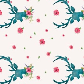 Floral Aqua Deer with Roses - Sideways