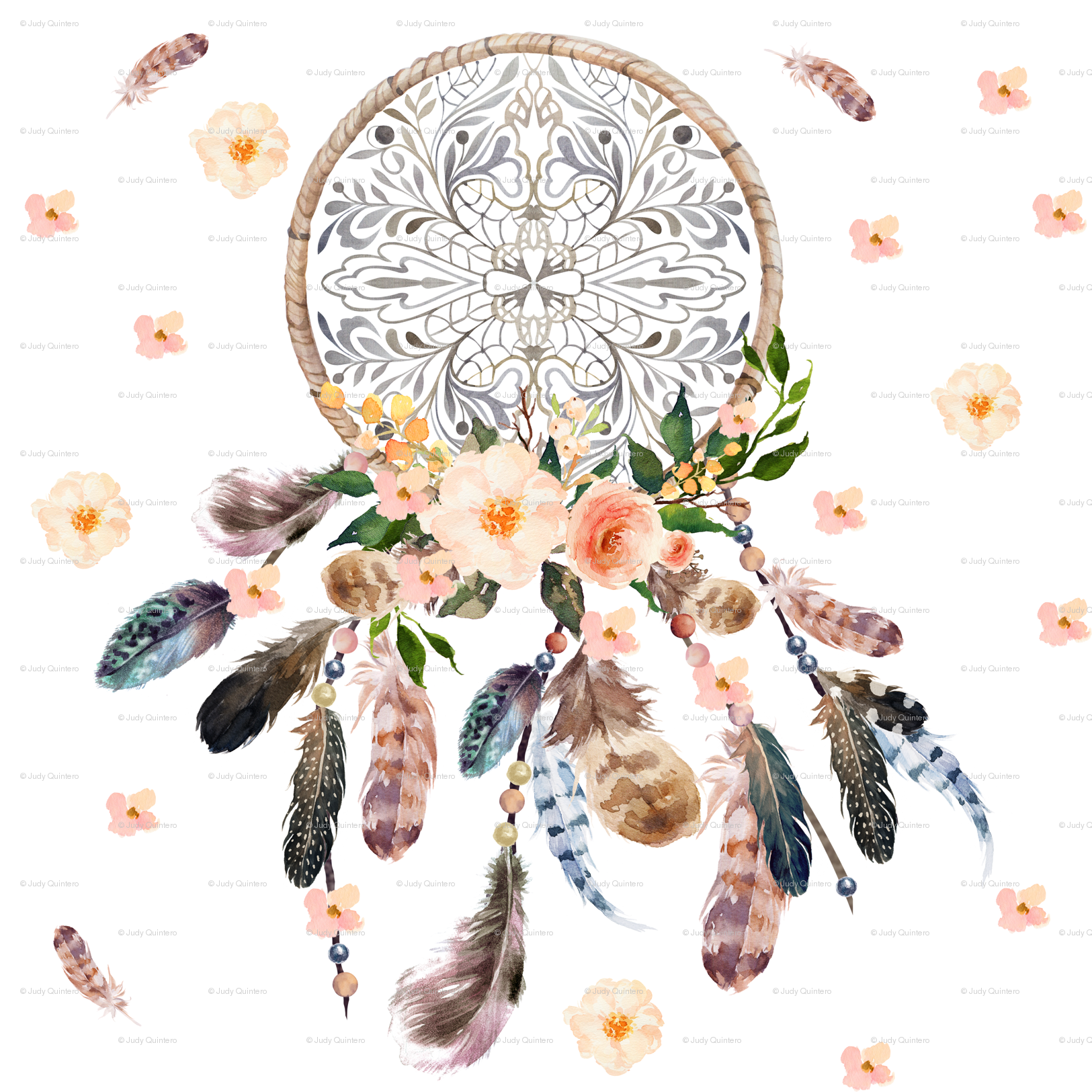 Dream catcher pink floral fabric shopcabin spoonflower mightylinksfo