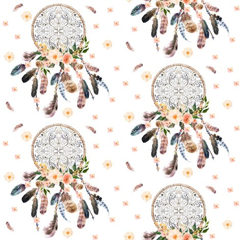 Dream catcher pink floral fabric shopcabin spoonflower rrdreamcatcherfloralpinkshoppreview dream catcher pink floral fabric by shopcabin on spoonflower mightylinksfo