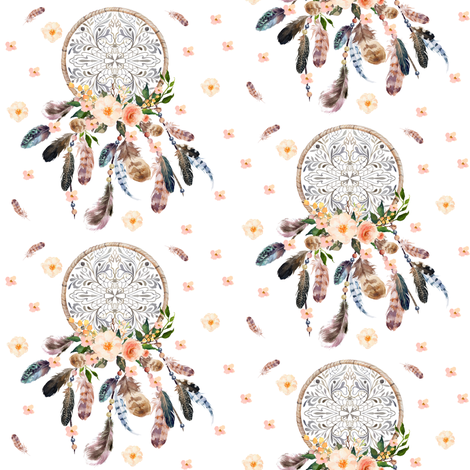 Dream Catcher Pink Floral  fabric by shopcabin on Spoonflower - custom fabric
