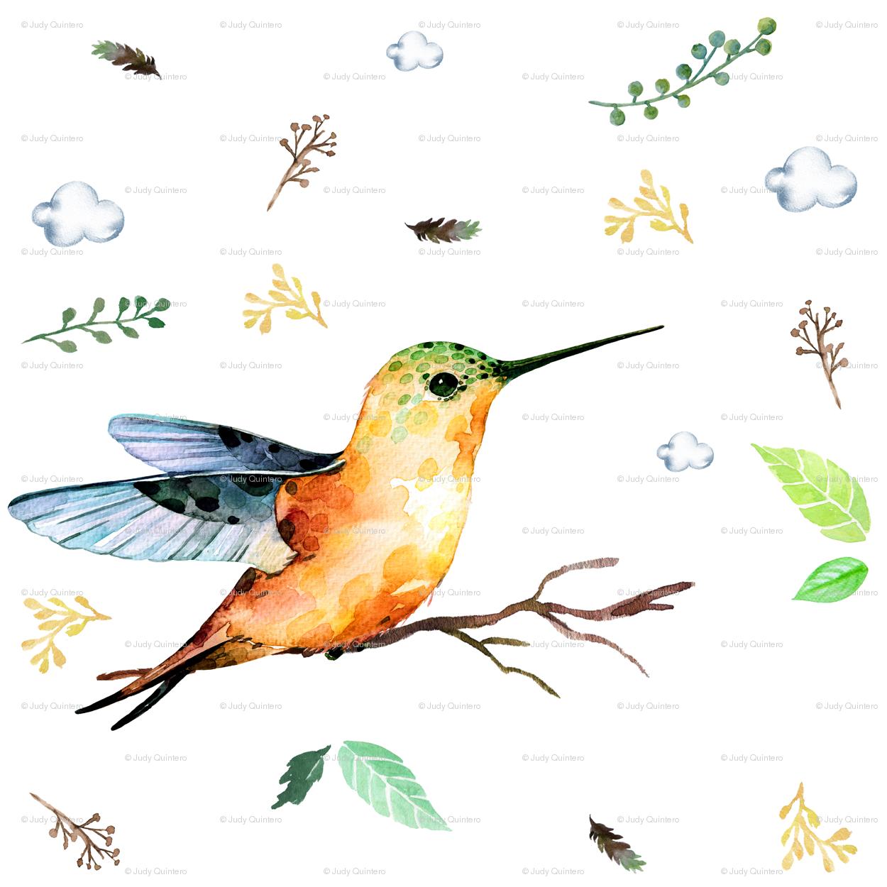 Sweet Whimsical Hummingbird fabric - shopcabin - Spoonflower