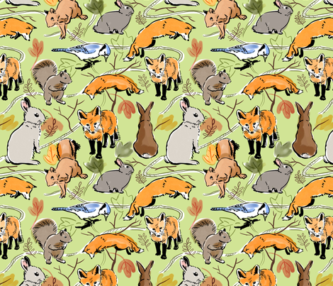 Woodland Creatures Green fabric by vinpauld on Spoonflower - custom fabric