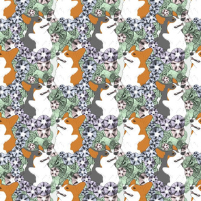 Floral Pembroke Welsh Corgi portraits