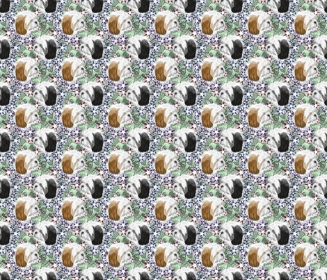 Floral Shih Tzu portraits - small fabric by rusticcorgi on Spoonflower - custom fabric