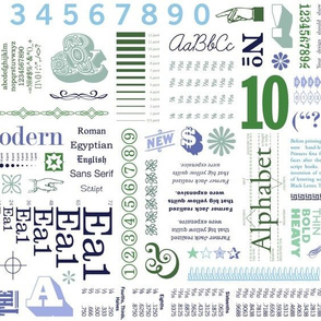 Typo-Graphic (Blues & Greens) || typography graphic design rules numbers measurements math art letters alphabet text low volume abc