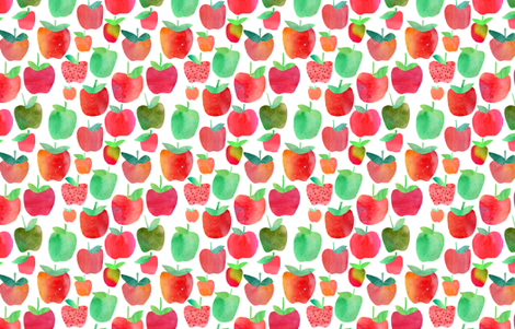 Watercolour Apples - fall, autumn fabric by emmaallardsmith on Spoonflower - custom fabric