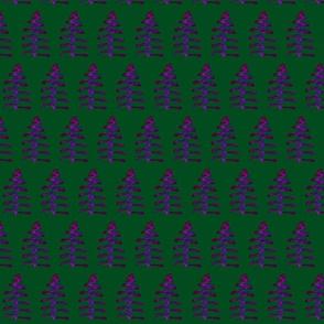 Funky FestiveTrees on Dark Forest Green