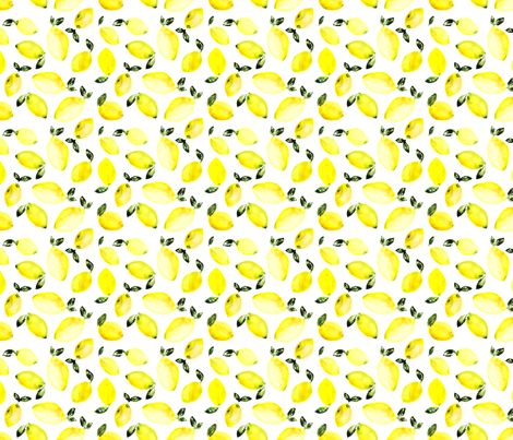 Watercolor lemons fabric by katerinaizotova on Spoonflower - custom fabric