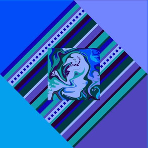 BN8 - Cheater Quilt with Abstract and Stripes - Blue - Lavender Purple