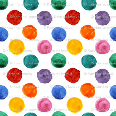 Colorful polka dot watercolor pattern