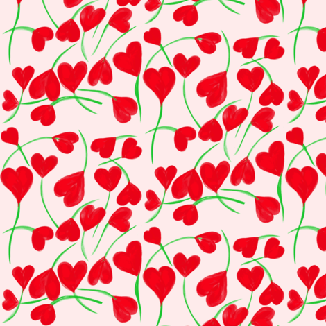 A Flutter of Scarlet Hearts on Pink Pearl fabric by rhondadesigns on Spoonflower - custom fabric